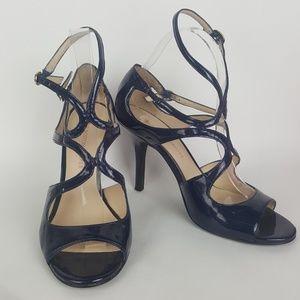 Boston Proper Black Patent Strap Heels sz 8M